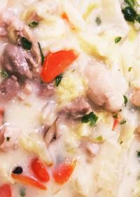 鍋ひとつで!白菜大量クリームシチュー!