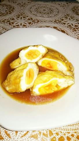【家庭の味】うす揚げ卵の袋煮♪