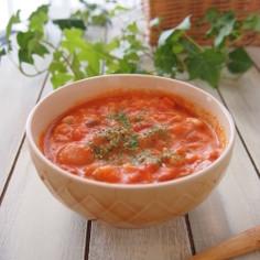 ほろほろチキンのクリーミートマトスープ