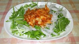 簡単❗水菜バリバリ、キムチサラダ
