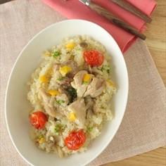 【炊飯器で簡単】チキンとトマトのパエリア