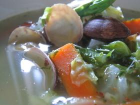 春野菜とあさりのバジルスープ