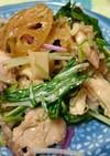 ローストチキンと蓮根と水菜のサラダ