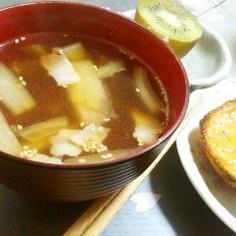 簡単♪白菜とベーコンの和風スープ☆