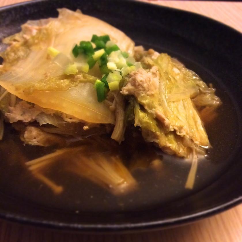 鳥ひき肉の白菜ミルフィーユきのこあんかけ