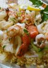ブルグルと魚介マリネのごちそうサラダ♪