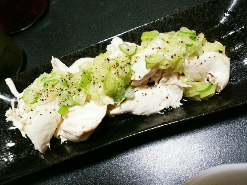 簡単☆ダイエット茹でササミのネギ塩がけ