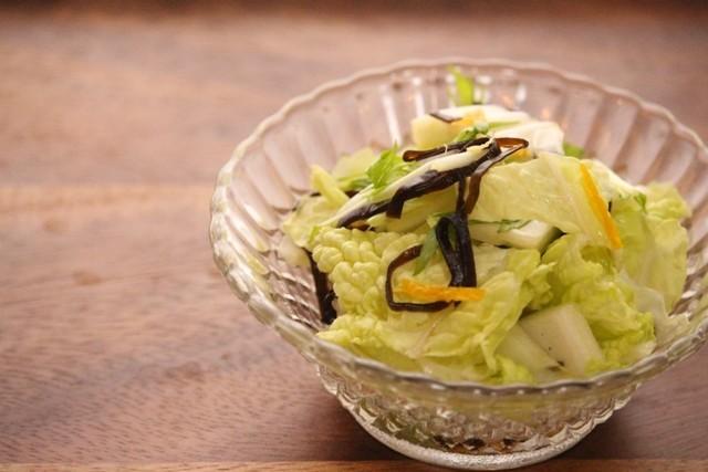 水菜と白菜のゆず昆布サラダ