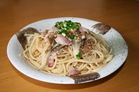 明太子納豆ベーコンスパゲティ