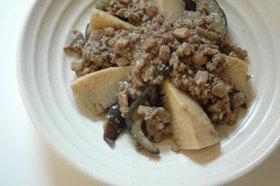 白いご飯に最適タケノコと茄子の肉味噌炒め