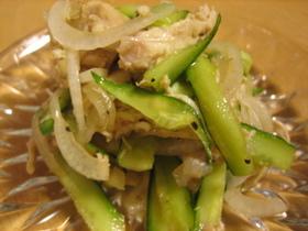 鶏胸肉と新玉ねぎの中華風サラダ