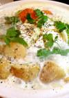 カマンベールチーズが真ん中の胡麻豆乳鍋
