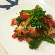 *常備菜*菜の花と豚肉のゆかり炒めの写真