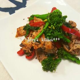 *常備菜*菜の花と豚肉のゆかり炒め