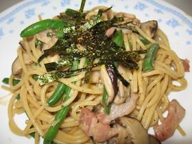 オイマヨで椎茸ベーコンのスパゲティ