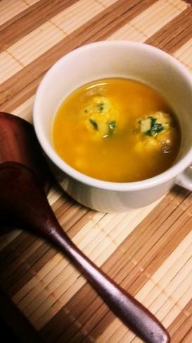 簡単めちゃ旨♡かぼちゃ&コーン団子スープ
