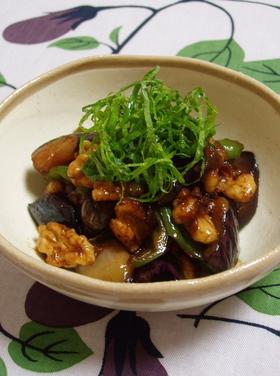 茄子と胡桃の甘味噌炒め