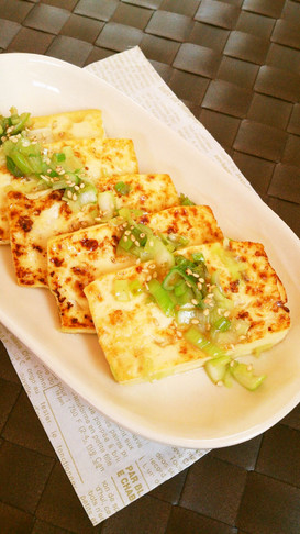 簡単節約☆葱塩だれで旨旨!豆腐ステーキ。