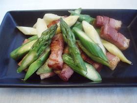 ★緑白★2種のアスパラベーコン炒め