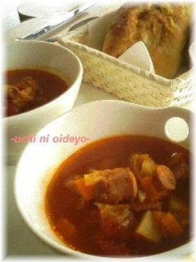 圧力鍋で♪ウィンナーと野菜のトマトスープ