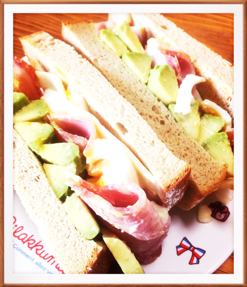 糖質制限★ロースハムの贅沢サンドイッチ
