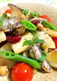 オイルサーディンと彩り野菜のソテー
