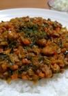 大豆(節分豆)と小松菜の簡単ドライカレー