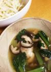 簡単☆鶏と椎茸と小松菜のつけ汁うどん