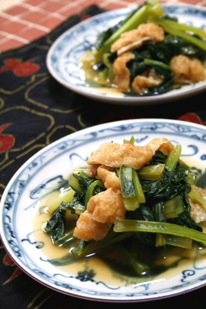 しみじみおいしい❤小松菜と油揚げの煮浸し