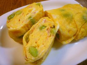 お弁当に☆枝豆とカニカマの卵焼き