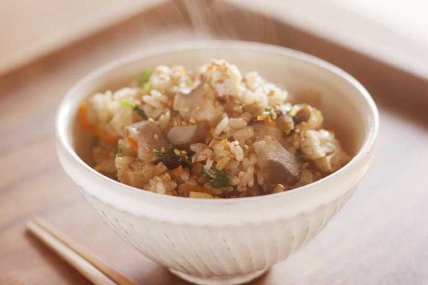 乾燥菊芋を一緒に炊き込む!菊芋ごはん