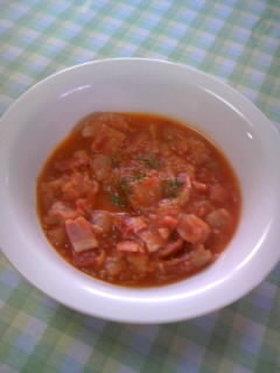 春キャベツとベーコンの生トマト煮