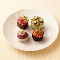 ラディッシュ&枝豆のセロリ軍艦巻き(写真左下)