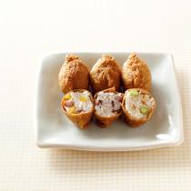 ゆでごぼうのごまぽん酢漬け&枝豆のいなりずし(写真右)