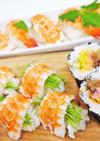蒸しえびと芽ネギの握り寿司