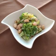 茎も美味しく♪ブロッコリーと大豆のサラダ