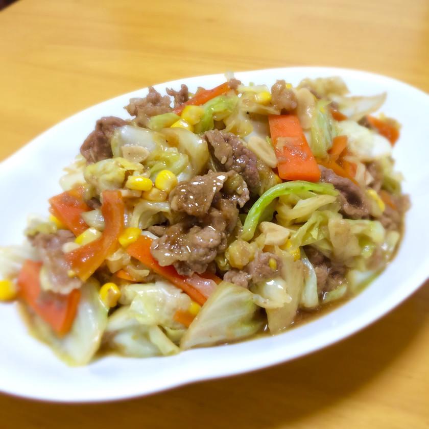 牛細切れ肉とキャベツのにんにく醤油炒め☆