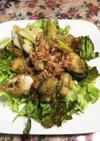 アマ二油で焼く牡蠣のニンニクソテー