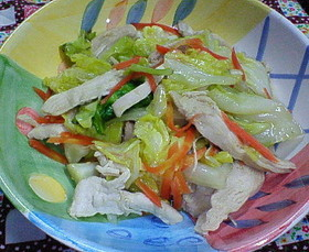 鶏胸肉と春キャベツのオイマヨ炒め♪