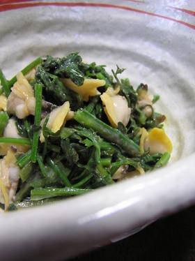 セリと貝の辛子酢味噌和え