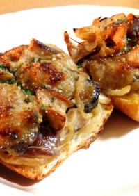 牡蠣とキノコのブルスケッタ