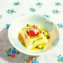 簡単☆たまご豆腐に、かにかま&きゅうり♪