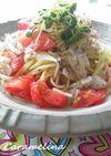 新玉ねぎと完熟トマトのゆかりスパゲティ