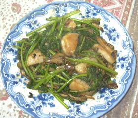 ホタテと小松菜、マイタケの豆鼓炒め