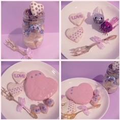HMでジャーケーキ&バレンタインプレート
