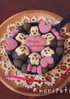 バレンタイン♡ミッキー&ミニーちぎりパン