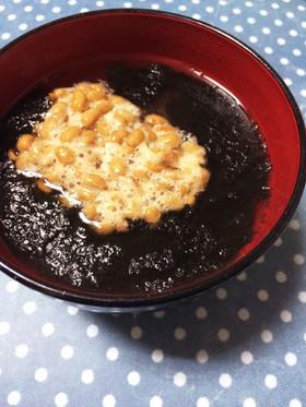 柚子胡椒香る♫海苔と納豆のお味噌汁