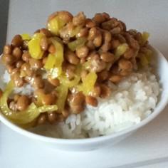 簡単☆納豆の食べ方♪たくあん納豆