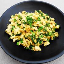 菜の花と豆腐のカレー風味スクランブル