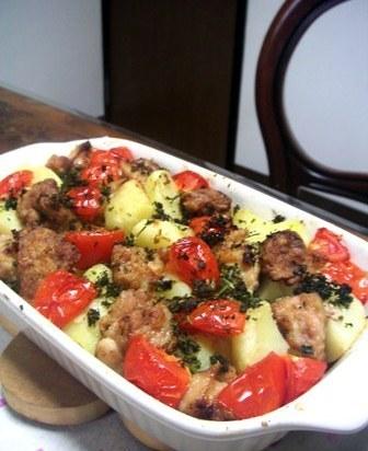 オーブンで新じゃがトマト